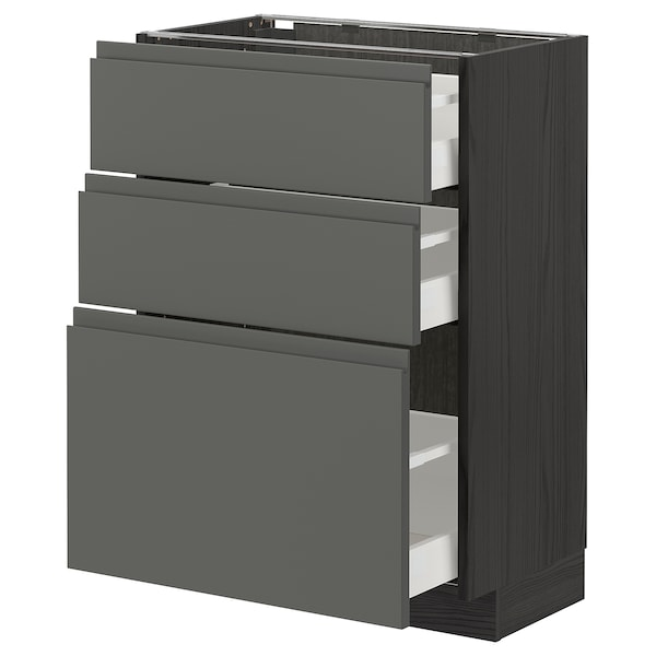 METOD / MAXIMERA Unterschrank mit 3 Schubladen, schwarz/Voxtorp dunkelgrau, 60x37 cm