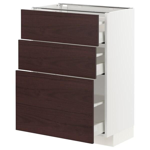 METOD / MAXIMERA Unterschrank mit 3 Schubladen, weiß Askersund/dunkelbraun Eschenachbildung, 60x37 cm