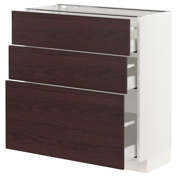 METOD / MAXIMERA Unterschrank mit 3 Schubladen, weiß Askersund/dunkelbraun Eschenachbildung, 80x37 cm
