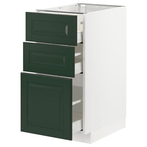 METOD / MAXIMERA Unterschrank mit 3 Schubladen, weiß/Bodbyn dunkelgrün, 40x60 cm