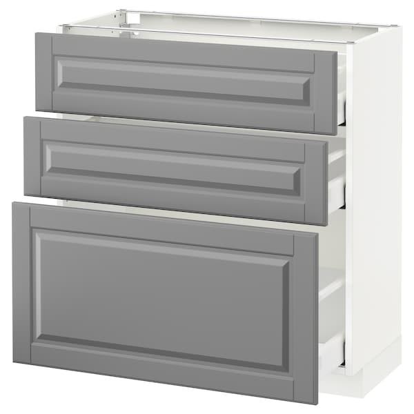 METOD / MAXIMERA Unterschrank mit 3 Schubladen, weiß/Bodbyn grau, 80x37 cm