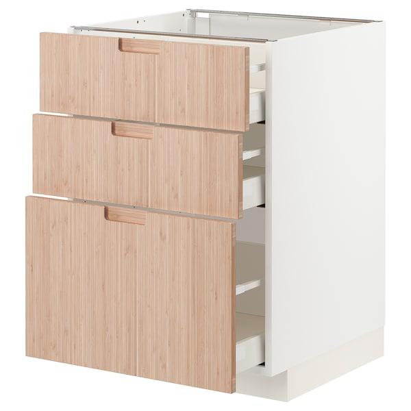 METOD / MAXIMERA Unterschrank mit 3 Schubladen, weiß/Fröjered Bambus hell, 60x60 cm