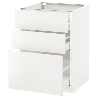 METOD / MAXIMERA Unterschrank mit 3 Schubladen, weiß/Häggeby weiß, 60x60 cm