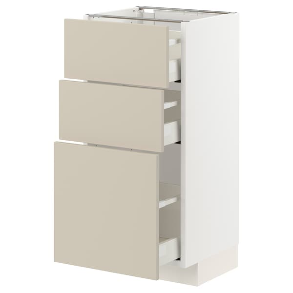 METOD / MAXIMERA Unterschrank mit 3 Schubladen, weiß/Havstorp beige, 40x37 cm