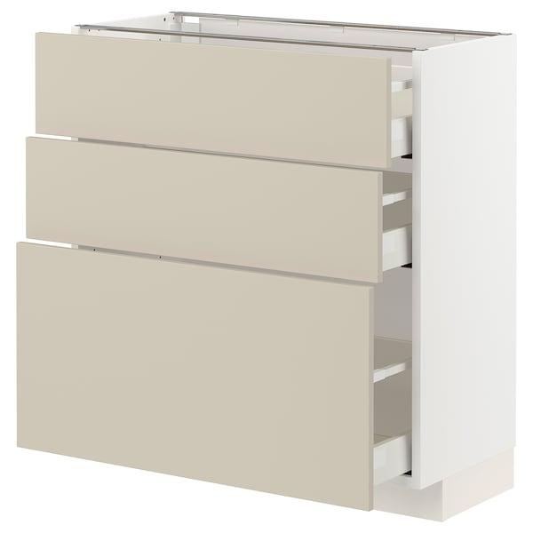 METOD / MAXIMERA Unterschrank mit 3 Schubladen, weiß/Havstorp beige, 80x37 cm