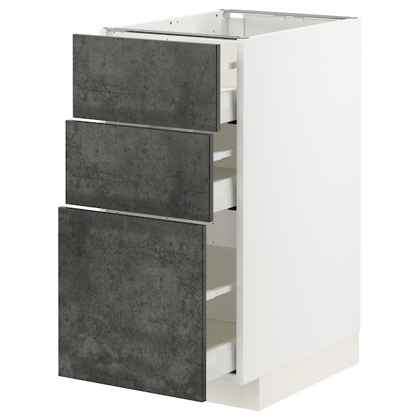 METOD / MAXIMERA Unterschrank mit 3 Schubladen, weiß/Kalhyttan Betonmuster dunkelgrau, 40x60 cm