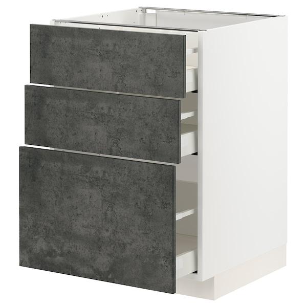 METOD / MAXIMERA Unterschrank mit 3 Schubladen, weiß/Kalhyttan Betonmuster dunkelgrau, 60x60 cm