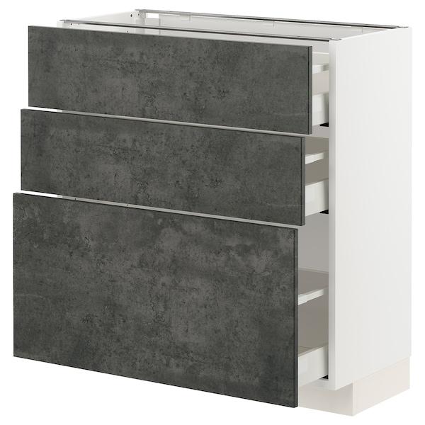 METOD / MAXIMERA Unterschrank mit 3 Schubladen, weiß/Kalhyttan Betonmuster dunkelgrau, 80x37 cm