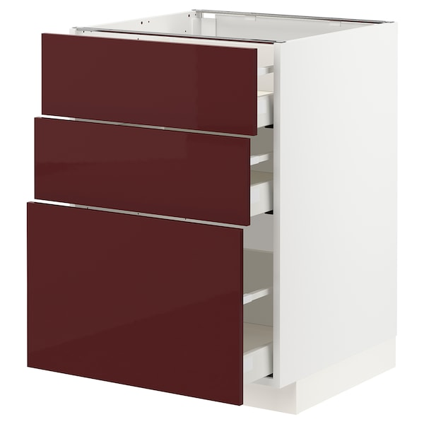 METOD / MAXIMERA Unterschrank mit 3 Schubladen, weiß Kallarp/Hochglanz dunkel rotbraun, 60x60 cm