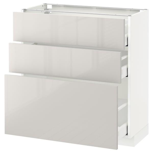 METOD / MAXIMERA Unterschrank mit 3 Schubladen, weiß/Ringhult hellgrau, 80x37 cm