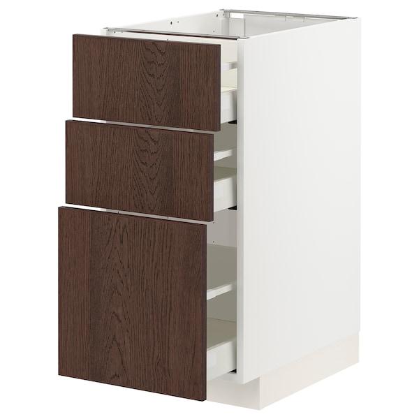 METOD / MAXIMERA Unterschrank mit 3 Schubladen, weiß/Sinarp braun, 40x60 cm