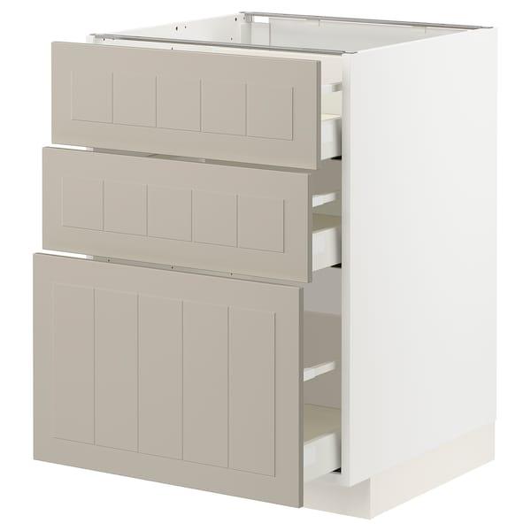 METOD / MAXIMERA Unterschrank mit 3 Schubladen, weiß/Stensund beige, 60x60 cm