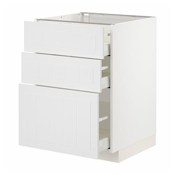 METOD / MAXIMERA Unterschrank mit 3 Schubladen, weiß/Stensund weiß, 60x60 cm
