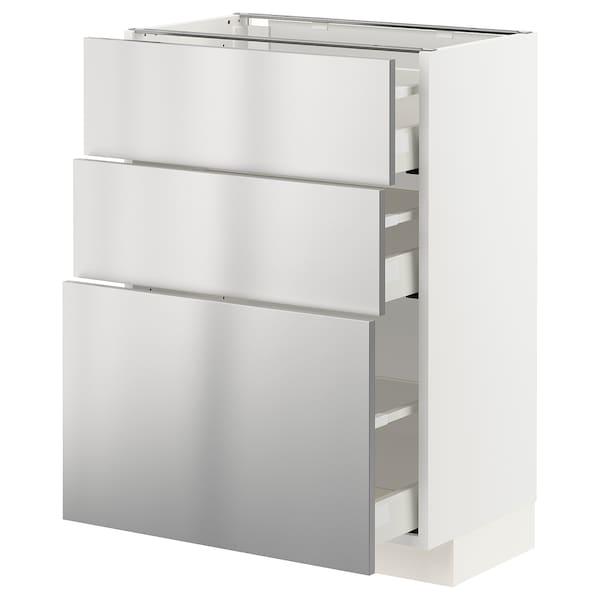 METOD / MAXIMERA Unterschrank mit 3 Schubladen, weiß/Vårsta Edelstahl, 60x37 cm