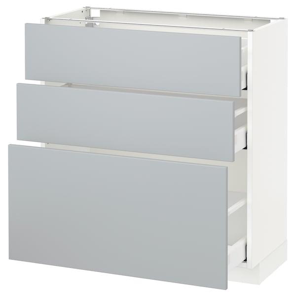 METOD / MAXIMERA Unterschrank mit 3 Schubladen, weiß/Veddinge grau, 80x37 cm