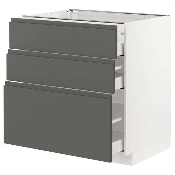 METOD / MAXIMERA Unterschrank mit 3 Schubladen, weiß/Voxtorp dunkelgrau, 80x60 cm