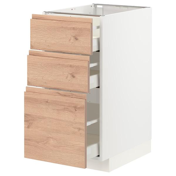 METOD / MAXIMERA Unterschrank mit 3 Schubladen, weiß/Voxtorp Eichenachbildung, 40x60 cm