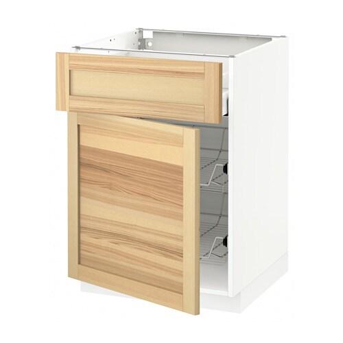 metod maximera unterschrank mit drahtkorb t r wei torhamn naturfarben esche 60x60 cm ikea. Black Bedroom Furniture Sets. Home Design Ideas
