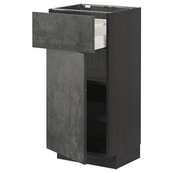 METOD / MAXIMERA Unterschrank mit Schublade/Tür, schwarz/Kalhyttan Betonmuster dunkelgrau, 40x37 cm