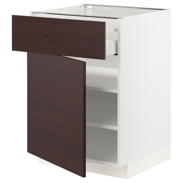 METOD / MAXIMERA Unterschrank mit Schublade/Tür, weiß Askersund/dunkelbraun Eschenachbildung, 60x60 cm