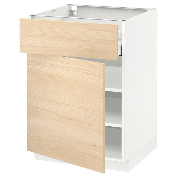 METOD / MAXIMERA Unterschrank mit Schublade/Tür, weiß/Askersund Eschenachbildung hell, 60x60 cm