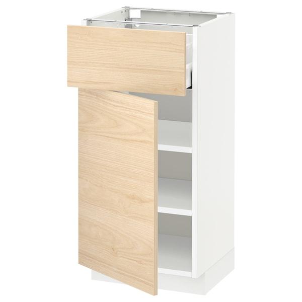 METOD / MAXIMERA Unterschrank mit Schublade/Tür, weiß/Askersund Eschenachbildung hell, 40x37 cm
