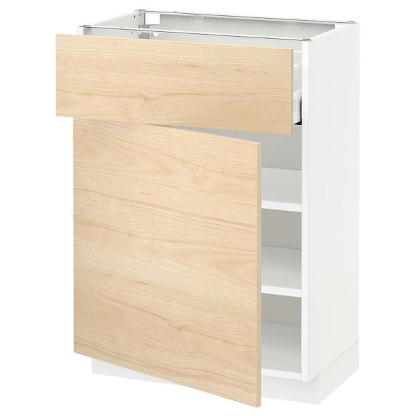 METOD / MAXIMERA Unterschrank mit Schublade/Tür, weiß/Askersund Eschenachbildung hell, 60x37 cm