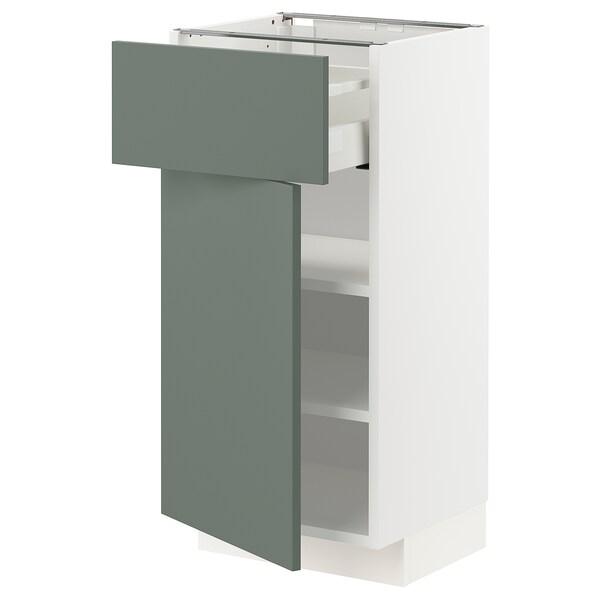 METOD / MAXIMERA Unterschrank mit Schublade/Tür, weiß/Bodarp graugrün, 40x37 cm