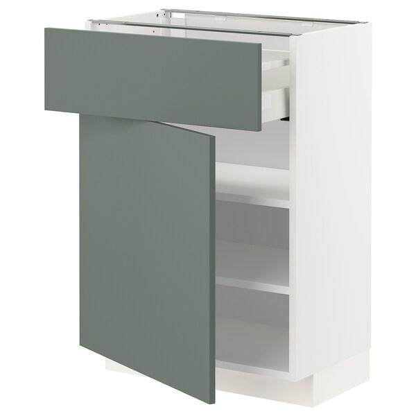 METOD / MAXIMERA Unterschrank mit Schublade/Tür, weiß/Bodarp graugrün, 60x37 cm