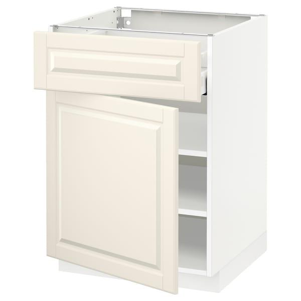 METOD / MAXIMERA Unterschrank mit Schublade/Tür, weiß/Bodbyn elfenbeinweiß, 60x60 cm