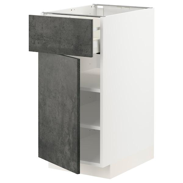 METOD / MAXIMERA Unterschrank mit Schublade/Tür, weiß/Kalhyttan Betonmuster dunkelgrau, 40x60 cm