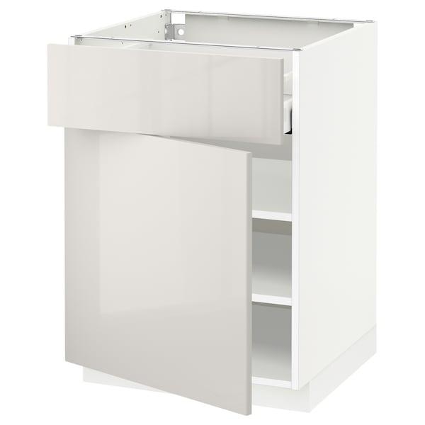 METOD / MAXIMERA Unterschrank mit Schublade/Tür, weiß/Ringhult hellgrau, 60x60 cm