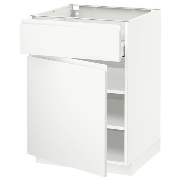 METOD / MAXIMERA Unterschrank mit Schublade/Tür, weiß/Voxtorp matt weiß, 60x60 cm