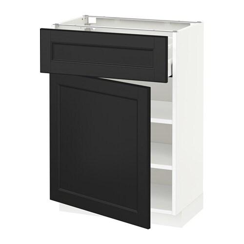 mit SchubladeTür  weiß, Laxarby schwarzbraun, 60×37 cm  IKEA