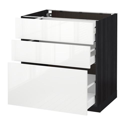 Küchen unterschrank schwarz  METOD / MAXIMERA Unterschrank mit 3 Schubladen - Holzeffekt ...