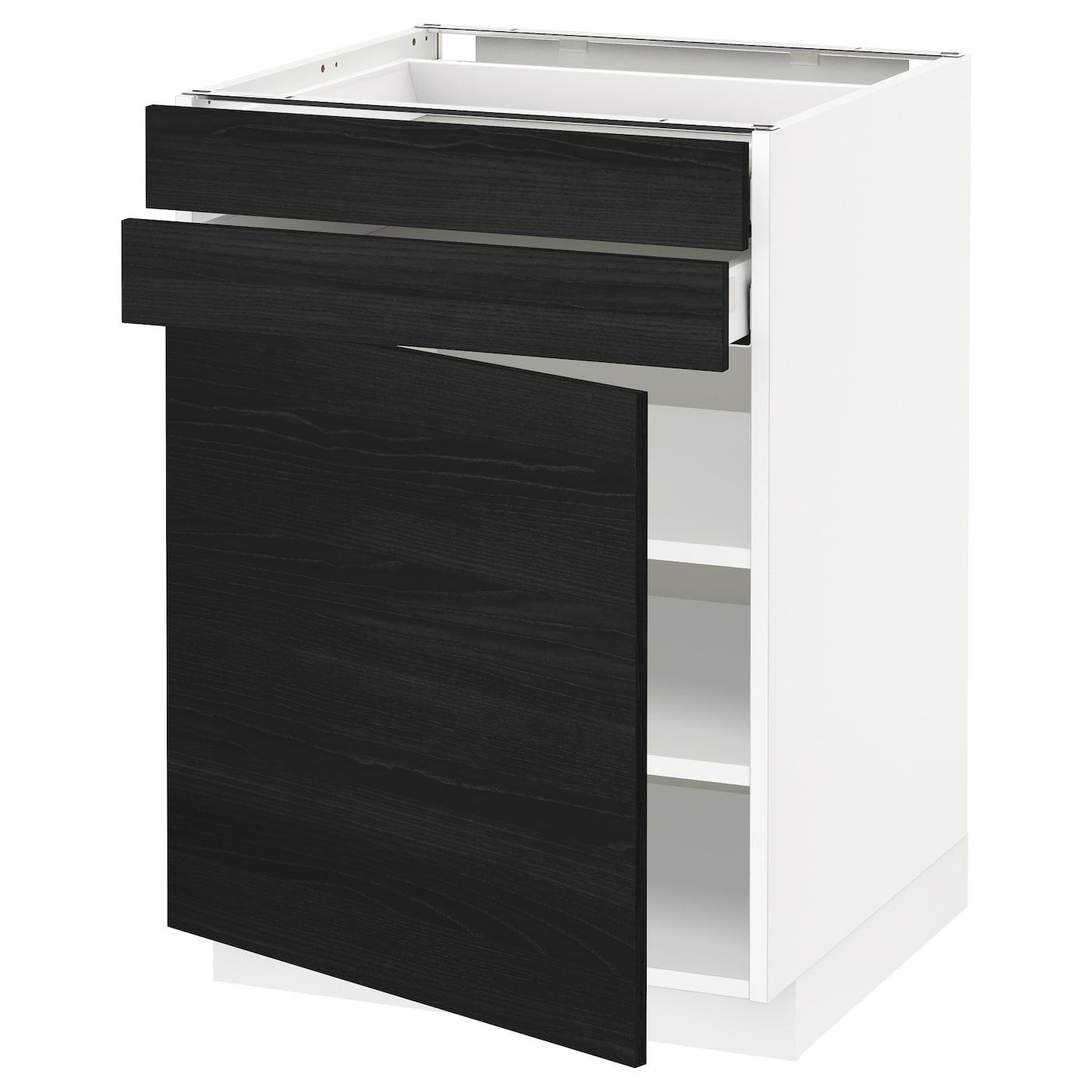METOD / MAXIMERA, Unterschrank mit Tür+2 Schubladen, weiß, schwarz 892.716.44