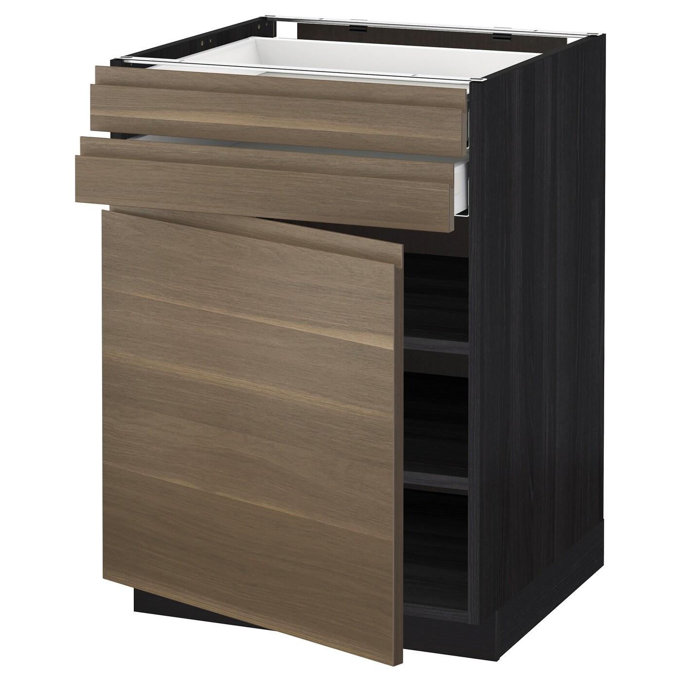 METOD / MAXIMERA, Unterschrank mit Tür+2 Schubladen, schwarz 492.716.55