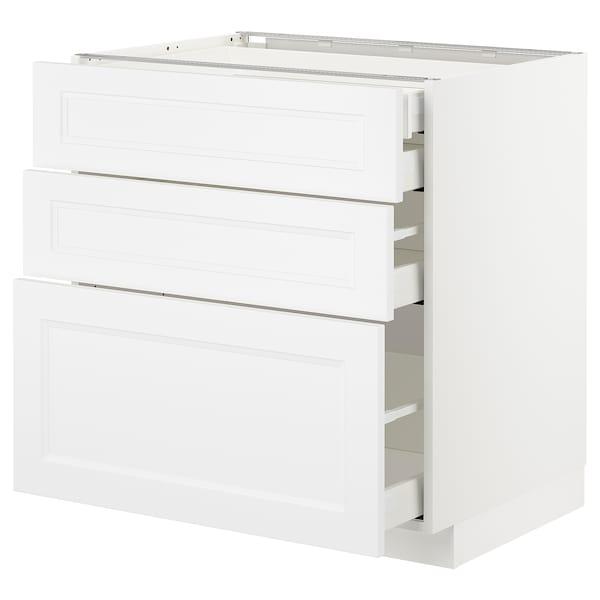 METOD / MAXIMERA Uschr 3 Fr/2 ni+1 haho+1 ho Sch, weiß/Axstad matt weiß, 80x60 cm