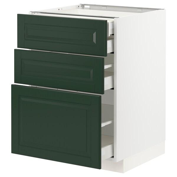 METOD / MAXIMERA Uschr 3 Fr/2 ni+1 haho+1 ho Sch, weiß/Bodbyn dunkelgrün, 60x60 cm