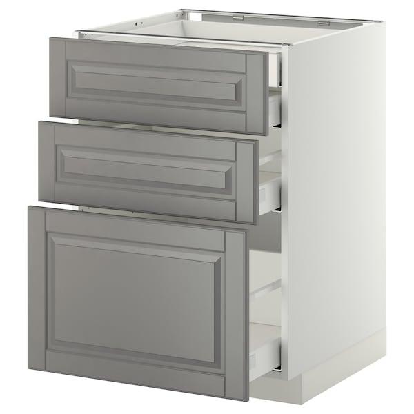 METOD / MAXIMERA Uschr 3 Fr/2 ni+1 haho+1 ho Sch, weiß/Bodbyn grau, 60x60 cm