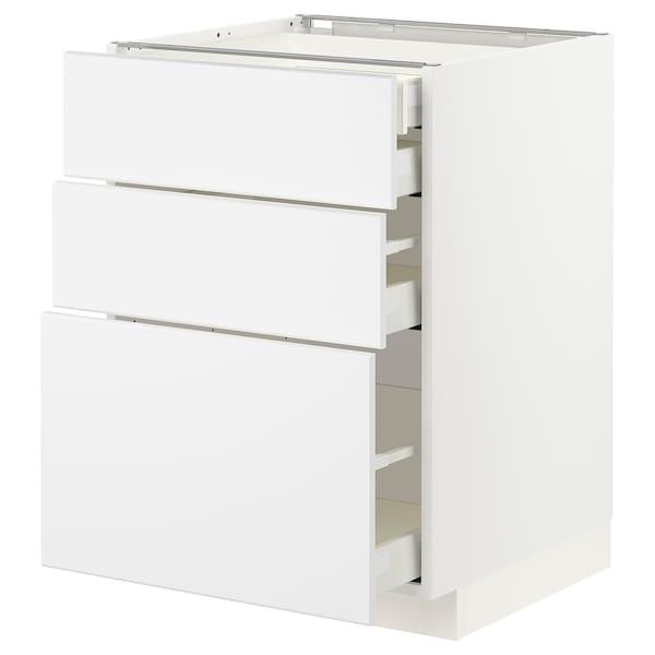 METOD / MAXIMERA Uschr 3 Fr/2 ni+1 haho+1 ho Sch, weiß/Kungsbacka matt weiß, 60x60 cm