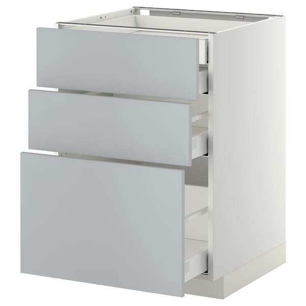 METOD / MAXIMERA Uschr 3 Fr/2 ni+1 haho+1 ho Sch, weiß/Veddinge grau, 60x60 cm