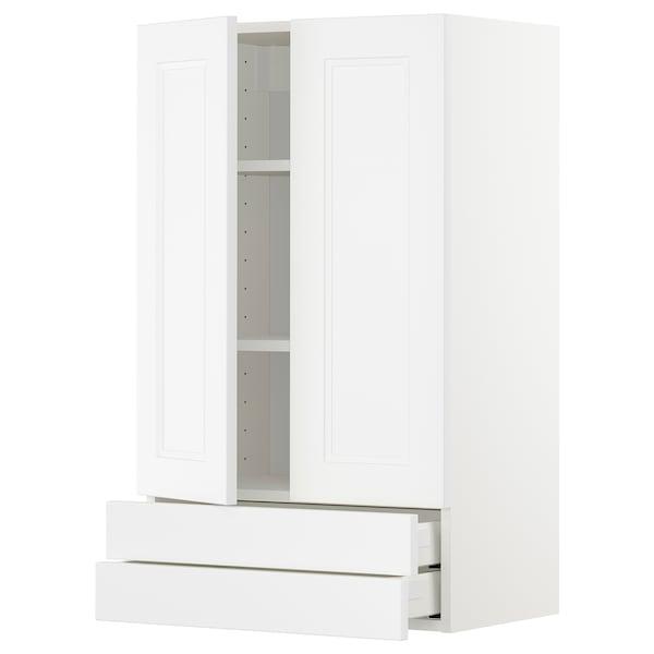 METOD / MAXIMERA Wandschrank mit 2 Türen/2 Schubl., weiß/Axstad matt weiß, 60x100 cm