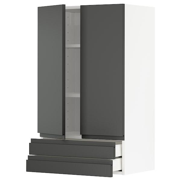 METOD / MAXIMERA Wandschrank mit 2 Türen/2 Schubl., weiß/Voxtorp dunkelgrau, 60x100 cm
