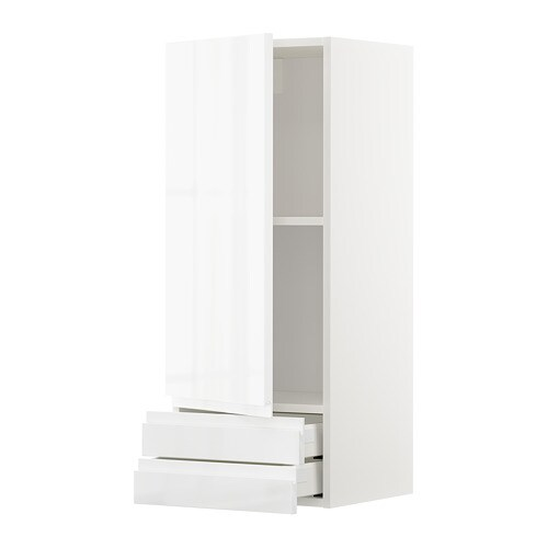 metod maximera wandschrank mit t r 2 schbubladen wei voxtorp hochglanz wei 40x100 cm ikea. Black Bedroom Furniture Sets. Home Design Ideas