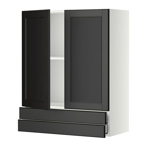 metod maximera wandschrank mit 2 t ren 2 schubl wei laxarby schwarzbraun 80x100 cm ikea. Black Bedroom Furniture Sets. Home Design Ideas