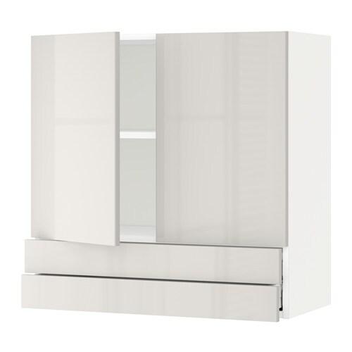 metod maximera wandschrank mit 2 t ren 2 schubl wei ringhult hochglanz hellgrau 80x80 cm. Black Bedroom Furniture Sets. Home Design Ideas