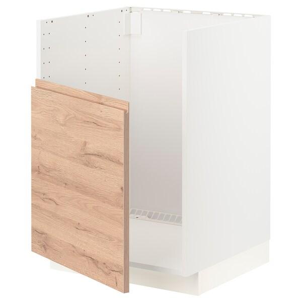 METOD Unterschr f BREDSJÖN Spüle, weiß/Voxtorp Eichenachbildung, 60x60 cm