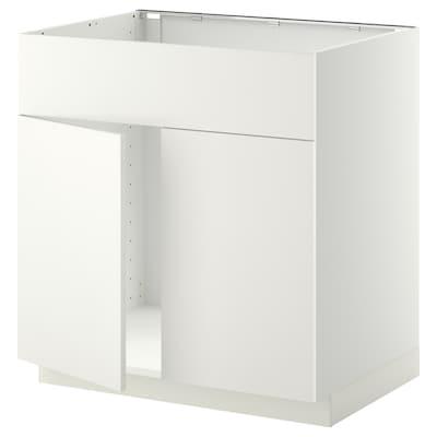 METOD Unterschr f Spüle+2 Türen/Front, weiß/Häggeby weiß, 80x60 cm