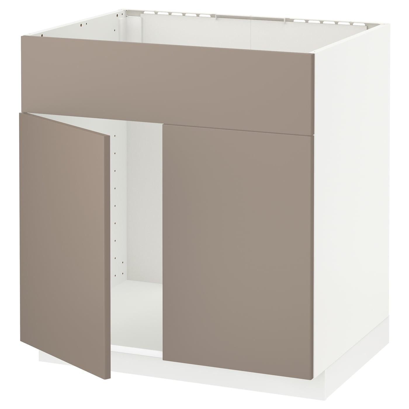 METOD, Unterschr für Spüle+2 Türen/Front, weiß, dunkelbeige 691.165.88